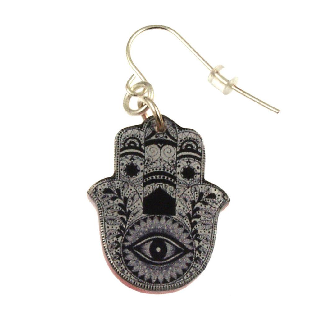 4026-2 - Upcycled Black and White Hamsa Earring