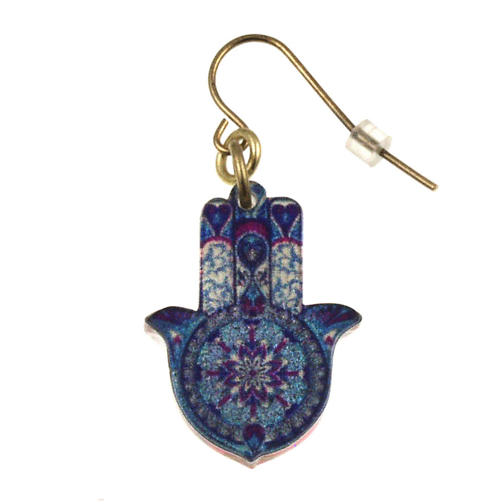4026-4 - Upcycled Blue and Purple Hamsa Earring