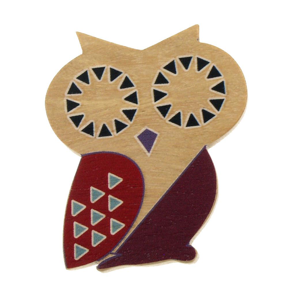 4022-4 - Brown Owl Wood Brooch