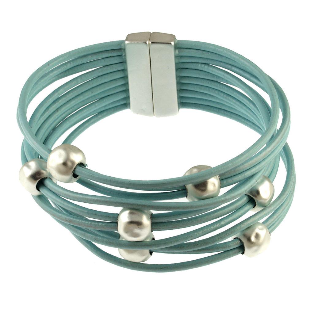 6142-106 - Matte Silver/Metallic Blue Multi Bead  Magnetic Bracelet