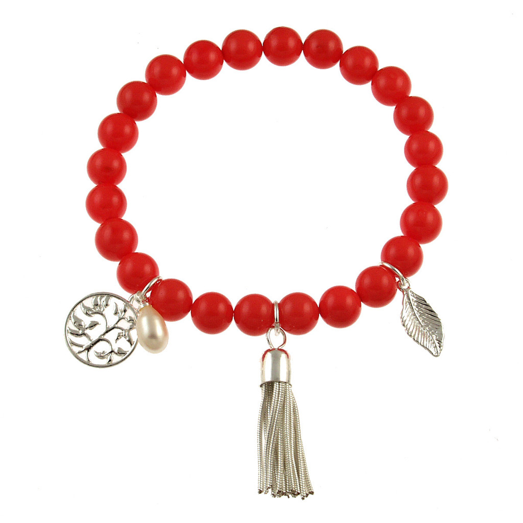 476-5 - Stretch Pearl and Shell Coral Bracelet