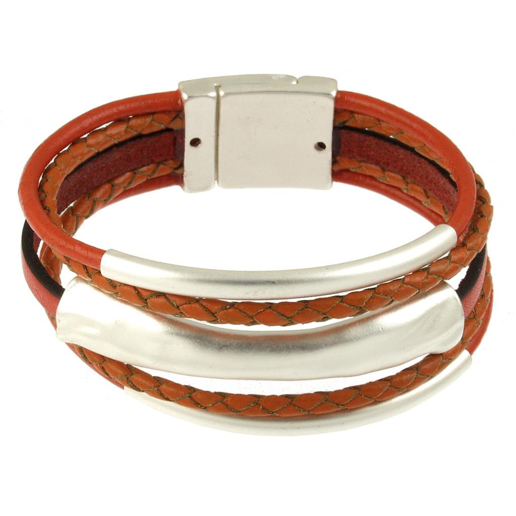 4578-7 - Matte Silver/Orange 3 Bar Braid Magnetic Bracelet