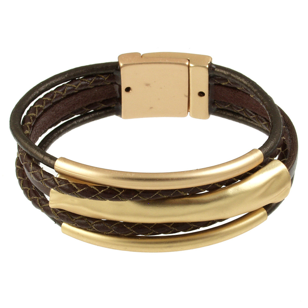 4578-59 - Matte Gold/Metallic Copper 3 Bar Braid Magnetic Bracelet