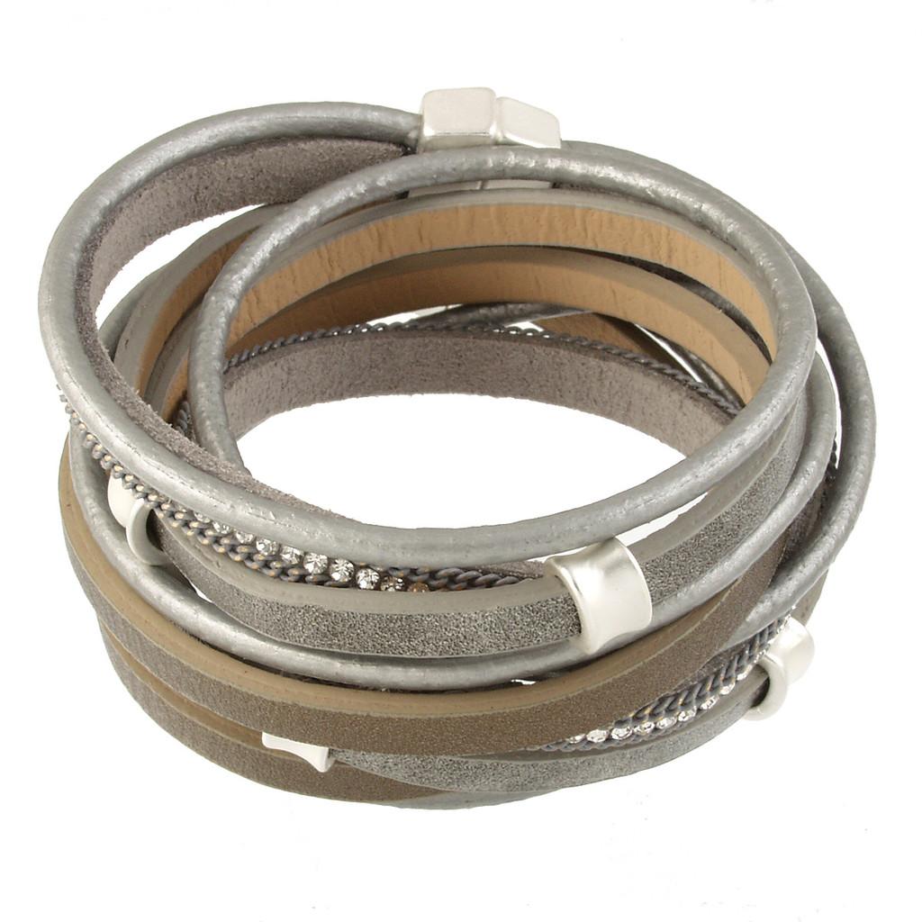 6165-1 - Matte Silver/Grey Wrap Magnetic Bracelet