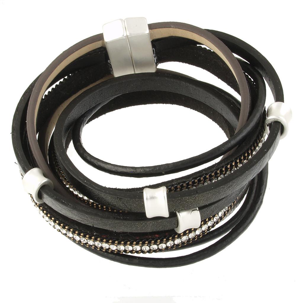 6165-4 - Matte Silver/Black Wrap Magnetic Bracelet