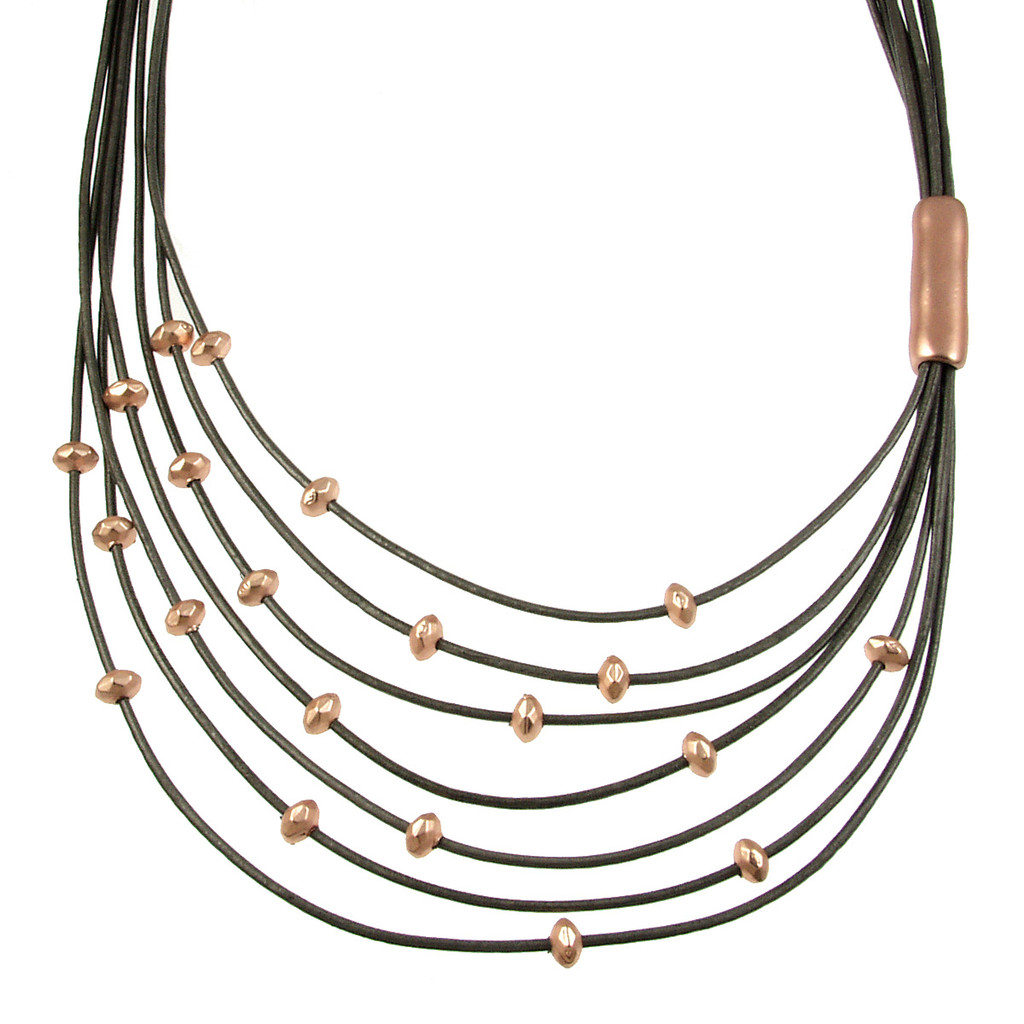 5110-63 - Matte Rose Gold/Dark Grey Side Gather Magnetic Leather Necklace