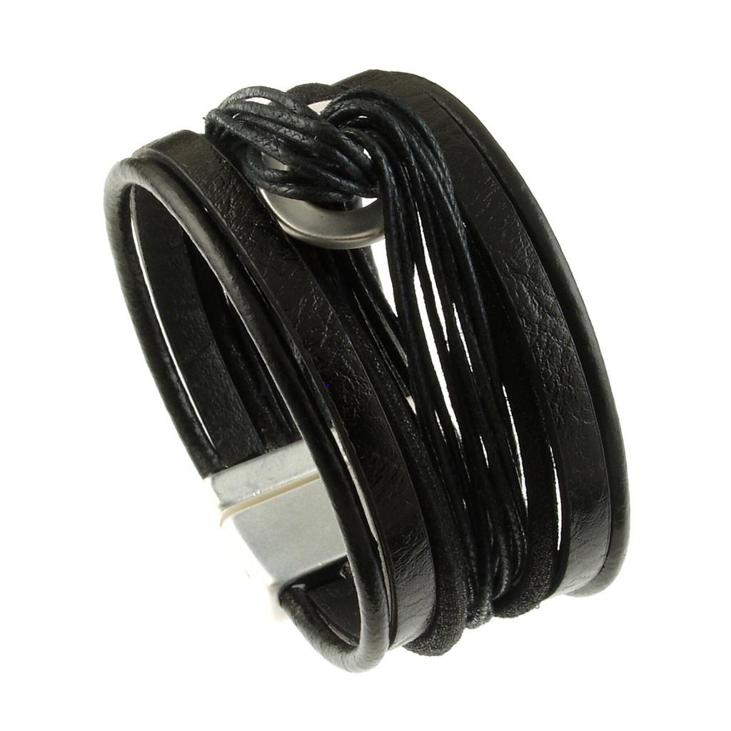 b8e659f3a 6682-4 - Matte Silver Black Wide Twist Magnetic Bracelet - Origin ...