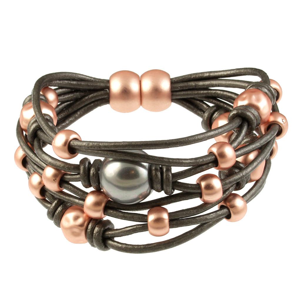 6641-63 - Matte Rose Gold/Dark Grey With Grey Pearl Magnetic Bracelet