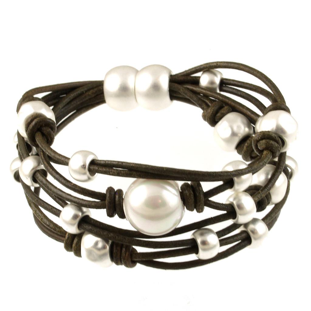 6641-42 - Matte Silver/Khaki With White Pearl Magnetic Bracelet