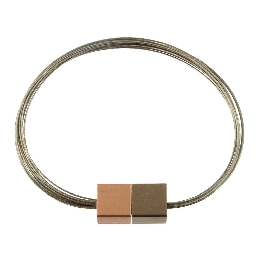 6171-63 - Magnetic Cube Bracelet Matte Coffee Gold/Matte Rose Gold