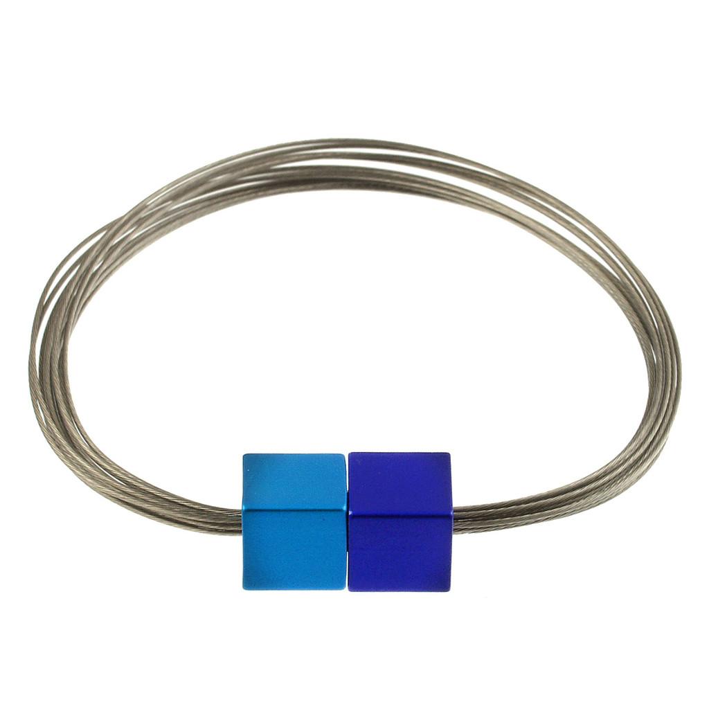 6171-28 - Magnetic Cube Bracelet Matte Silver/Turquoise/Dark Blue