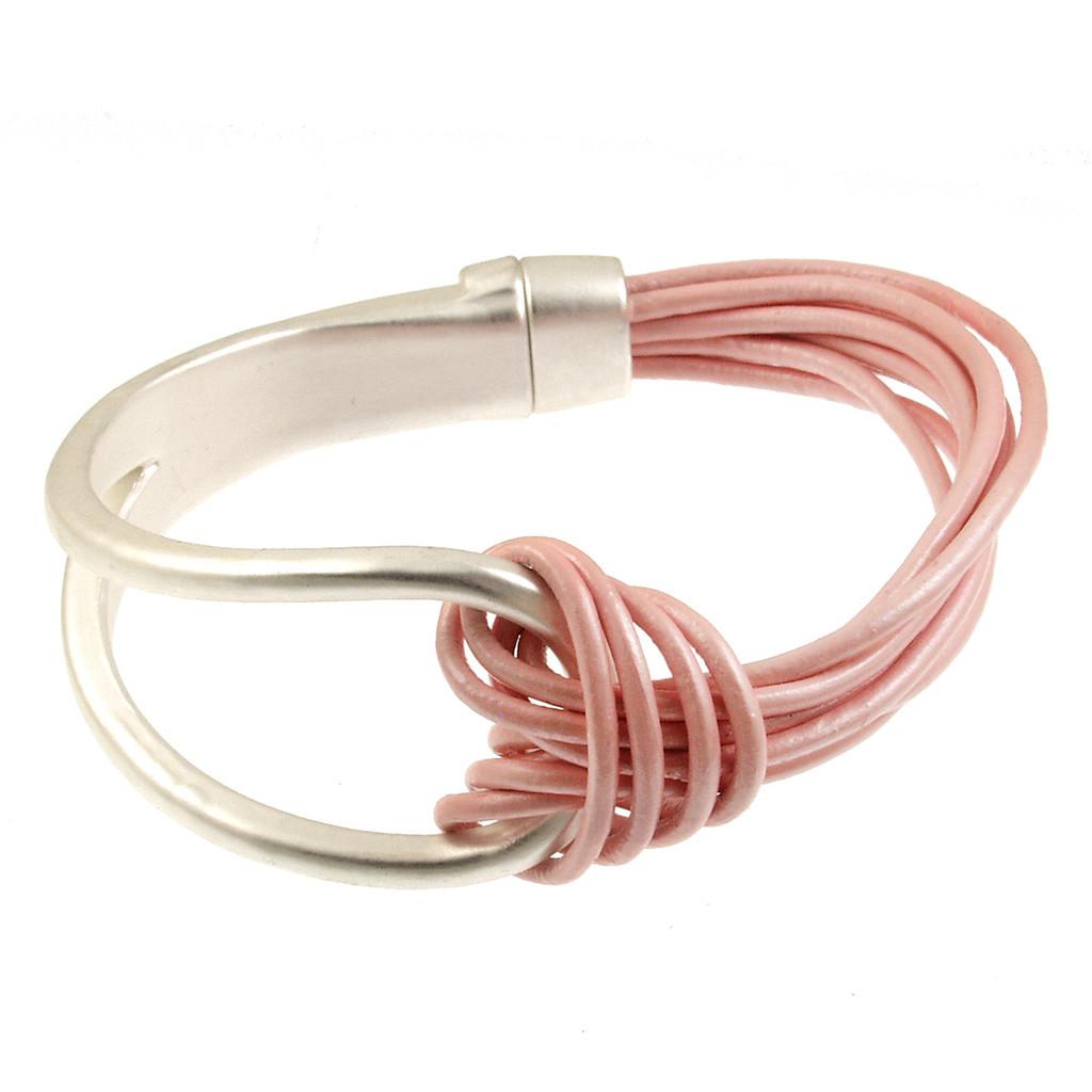 6065-84 - Matte Silver/Metallic Pink Leather Magnetic Bracelet
