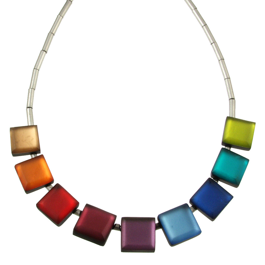 2388-4 - Square Buttons Necklace Rainbow Combi