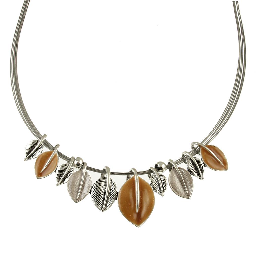 341-6 - Leaf Necklace Brown Combi
