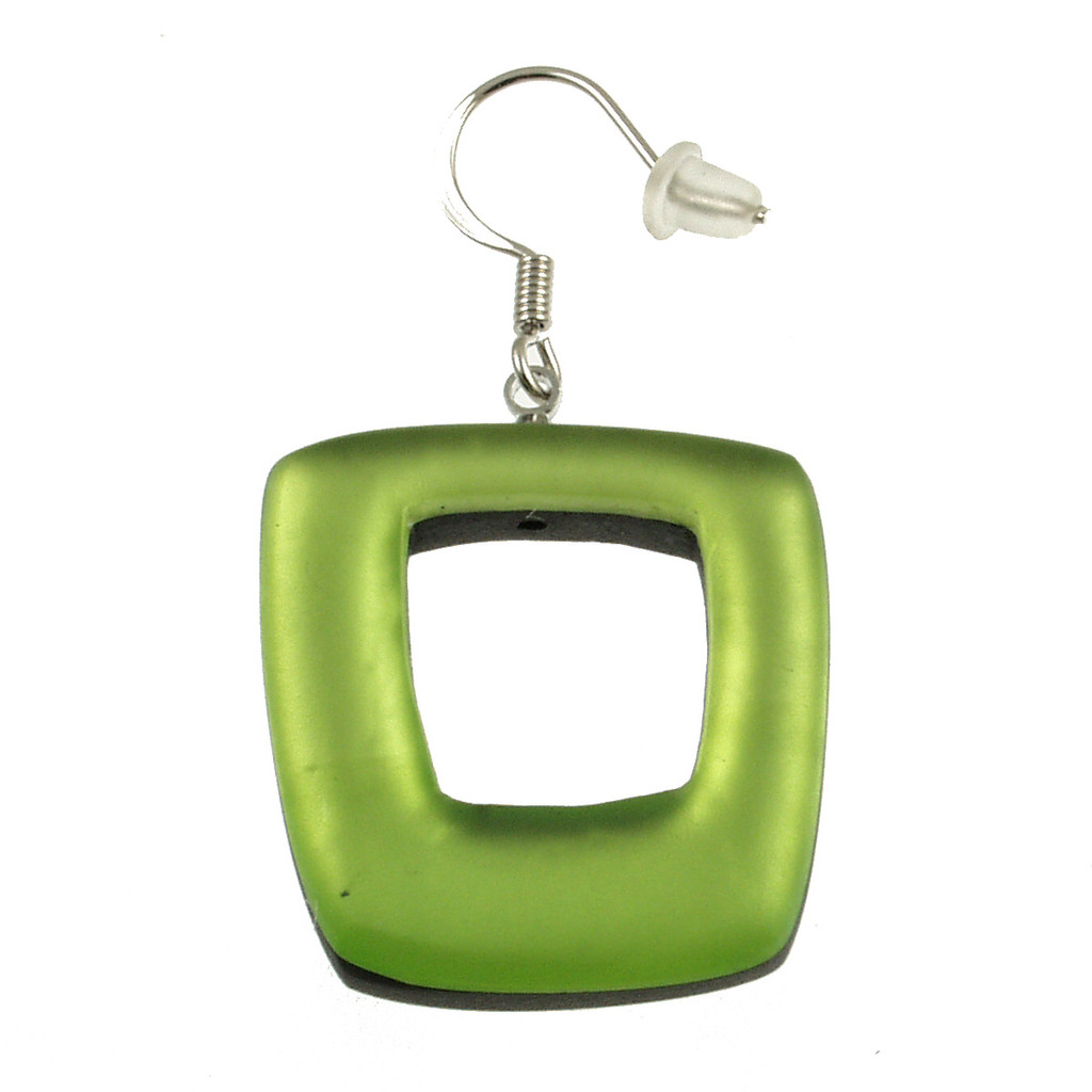 419-3 - HOLLOW SQUARE EARRING - LIME