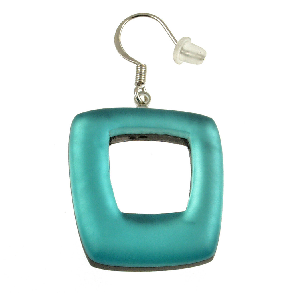 419-2 - HOLLOW SQUARE EARRING - TURQUOISE