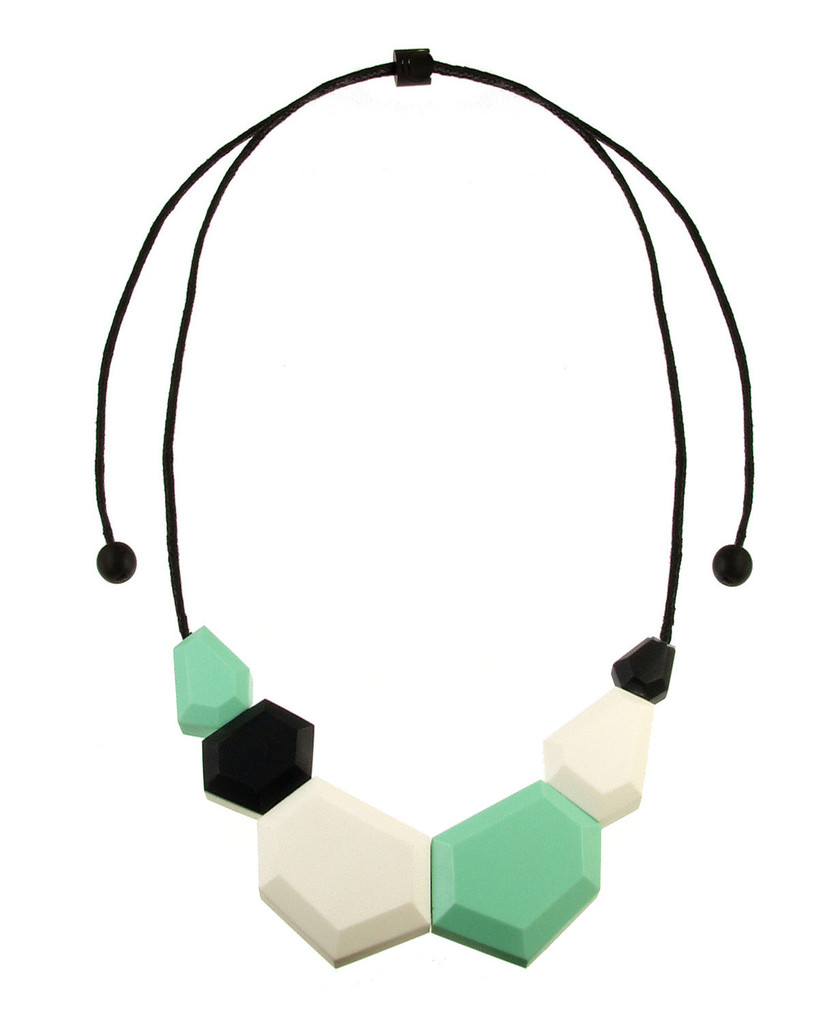 154-3 - Mint/Black/Ecru White Necklace