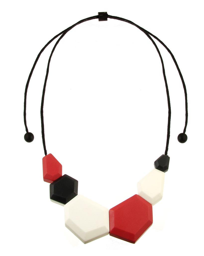 154-5 - Coral/Black/Ecru White Necklace