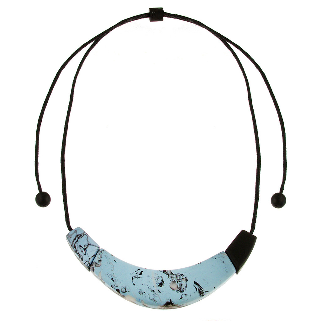 210-2 - Light Blue/Black Swirl Necklace