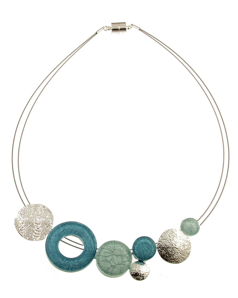 3399-2 - Blue/Aqua Marble Resin Necklace