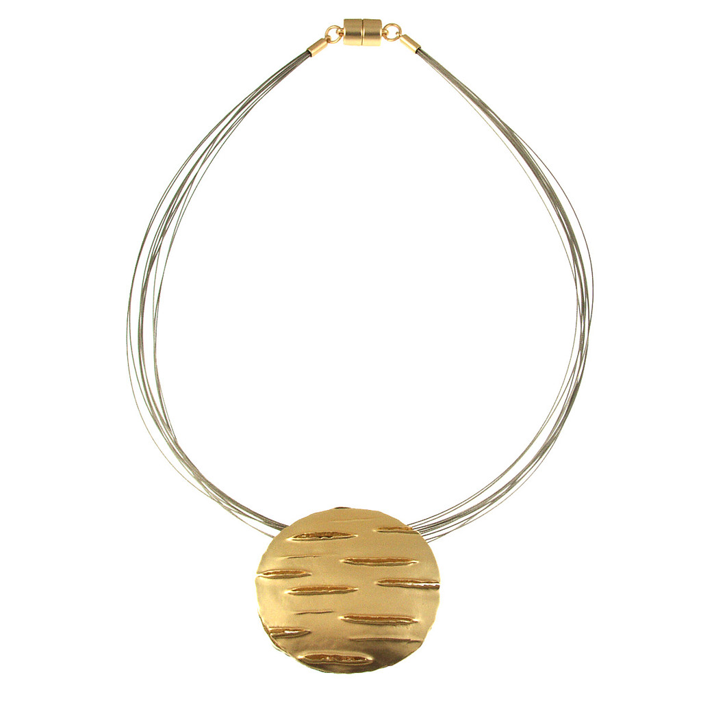 5187-2 - REVERSIBLE SAND SILVER/LIGHT MATTE GOLD ROUND PENDANT