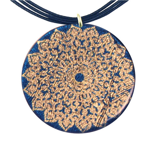 4130-81 - Yellow and Blue Kaleidoscope Pattern Pendant On Cord