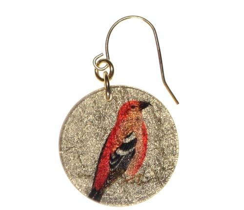 4120-102 - Orange Bird On Perch Earring