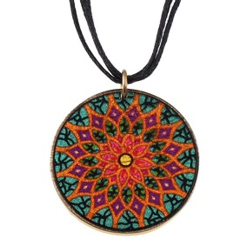 4130-135 - Stained Glass Mandala Pendant on Cord