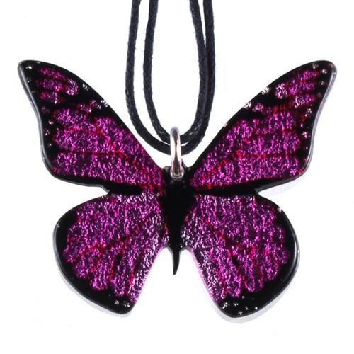 4161-4 - Full Pink Butterfly Pendant on Cord