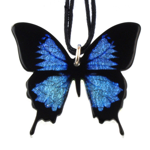 4161-8 - Full Blue Swallowtail Butterfly Pendant on Cord