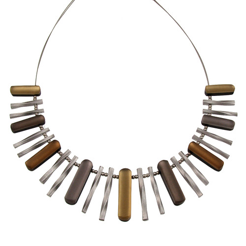 1635-7 - Metallic Sticks Necklace with Shell