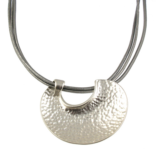5057-1 - Matte Silver/Grey Leather Pendant Magnetic Clasp