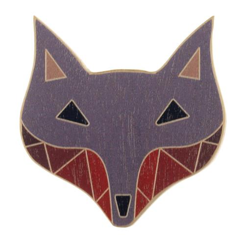 4024-4 - Grey Fox Wood Brooch