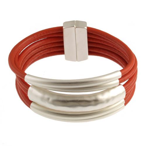 6105-7 - Matte Silver/Orange Magnetic Bracelet