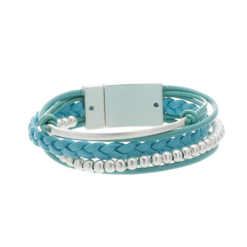 6143-5 - Matte Silver/Turquoise Magnetic Bracelet
