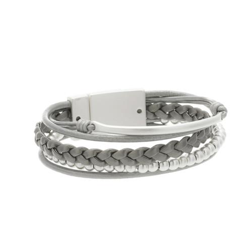 6143-1 - Matte Silver/Grey Magnetic Bracelet