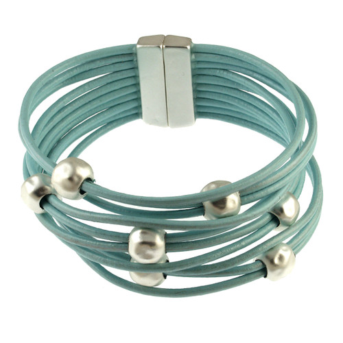 6142-106 - Matte Silver/Metallic Blue Multi Bead  Magnetic Bracelet