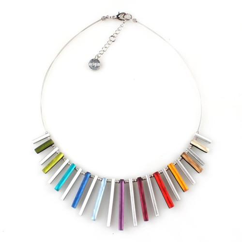 2300-4 - Square Sticks Necklace Rainbow