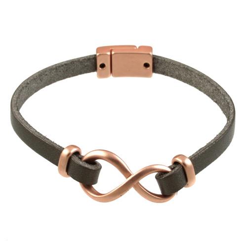 6138-63 - Matte Rose Gold/Dark Grey Infinity Magnetic Bracelet
