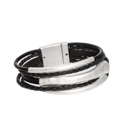 4578-4 - Matte Silver/Black 3 Bar Braid Magnetic Bracelet