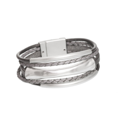 4578-63 - Matte Silver/Grey 3 Bar Braid Magnetic Bracelet
