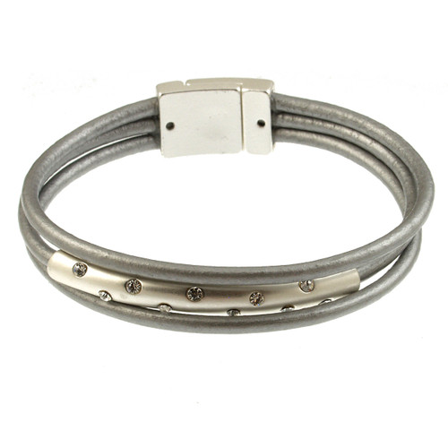 4579-1 - Matte Silver/Grey with Crystals Magnetic Bracelet