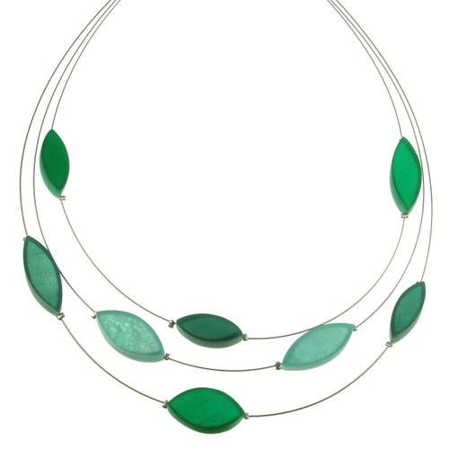 2058-3 - 3 Strand Multi-Leaf Necklace Emerald