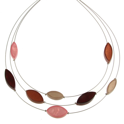 2058-6 - 3 Strand Multi-Leaf Necklace Cherry