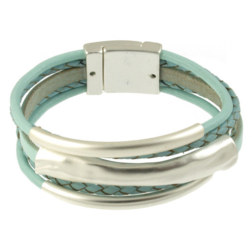 4578-106 - Matte Silver/Light Blue 3 Bar Braid Magnetic Bracelet
