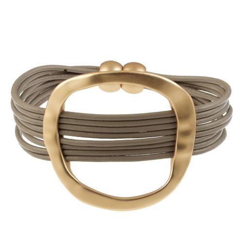 6170-87 - Matte Gold/Taupe Hammered Oval Magnetic Leather Bracelet