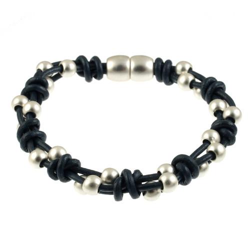 6162-118 - Matte Silver/Navy Simple Braid Magnetic Leather Bracelet
