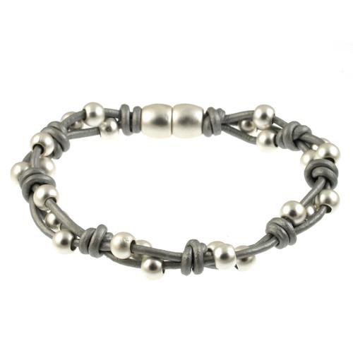 6162-1 - Matte Silver/Light Grey Simple Braid Magnetic Leather Bracelet