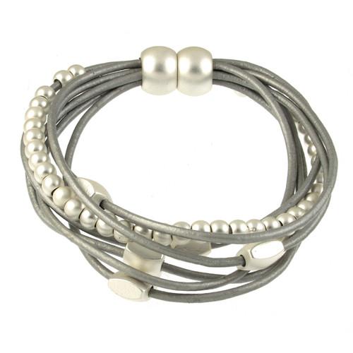 6156-1 - Matte Silver/Light Grey Mini Squares Magnetic Leather Bracelet