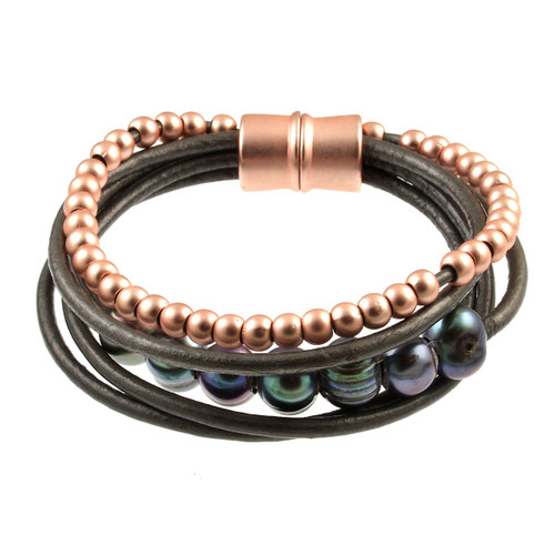 6159-63 - Matte Rose Gold/Dark Grey Grey Pearl Magnetic Leather Bracelet